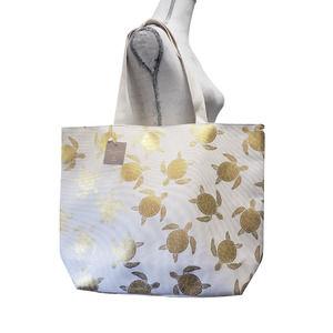 Gold Foil Turtle Tote Bag White